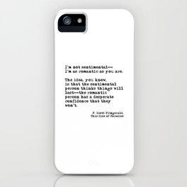 The romantic person - F Scott Fitzgerald iPhone Case