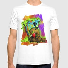 Radioactive Groundhog Eating an Apple MEDIUM White Mens Fitted Tee