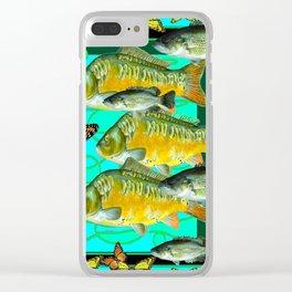 MONARCH BUTTERFLIES OCHER  FISH TURQUOISE BLUE ART Clear iPhone Case