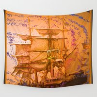 pirate ship Wall Tapestries featuring pirate ship by Vector Art