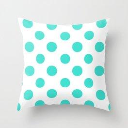 Polka Dots (Turquoise/White) Throw Pillow