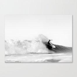Surfer, Big Wave, Beach Wall Art, Black and White Photograph Canvas Print