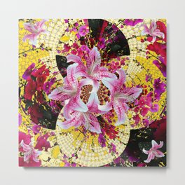 ABSTRACTED FUCHSIA-PINK LILY & HOLLYHOCKS GARDEN Metal Print