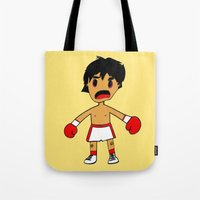 rocky Tote Bags featuring ROCKY by Christophe Chiozzi