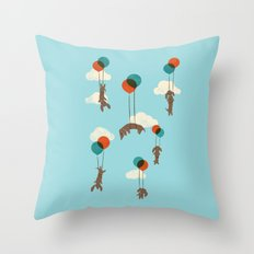 Flight of the Wiener Dogs Throw Pillow