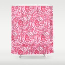 Girly Pink Hand Painted Watercolor Roses Shower Curtain