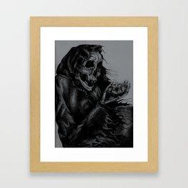 Skeleton Holding Diamond Framed Art Print