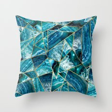 Turquoise Navy Blue Agate Black Gold Geometric Triangles Throw Pillow
