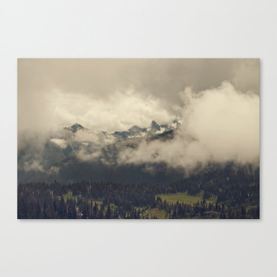 Mountains through the Fog Canvas Print