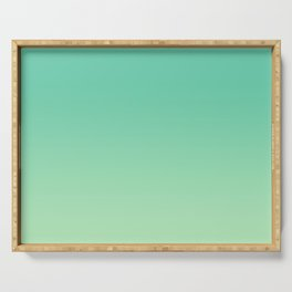 Neo Mint Green Pastel Ombre Gradient Abstract Sea Leaf Pattern Trendy Color of the Year 2020 Serving Tray