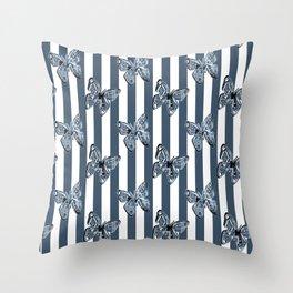 Blue butterflies on a striped background . Throw Pillow