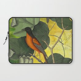 Baltimore Oriole on Tulip Tree, Vintage Natural History and Botanical Laptop Sleeve