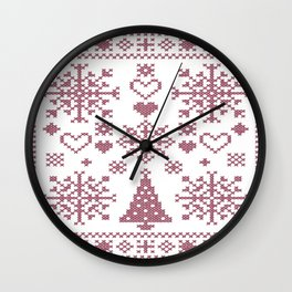 Christmas Cross Stitch Embroidery Sampler Pink And White Wall Clock