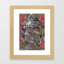 Buddha in happiness & inner peace Framed Art Print