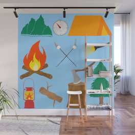 Let's Explore The Great Outdoors - Light Blue Wall Mural