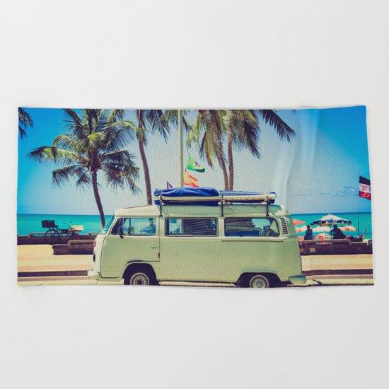 VW Bus Beach Vacation Beach Towel