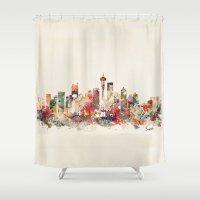 washington Shower Curtains featuring seattle washington by bri.buckley