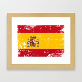 Spain flag with grunge effect Framed Art Print