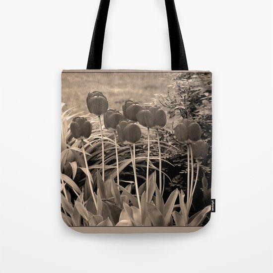 sepia tulip clump Tote Bag