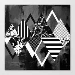STAND OUT! In Black And White - Abstract, textured geometry! Canvas Print