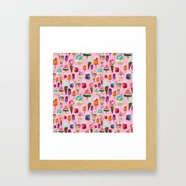 ice-cream pattern Framed Art Print