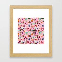 ice-cream pattern Framed Art Print