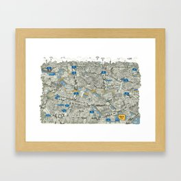 Illustrated map of Berlin-Mitte. Green Framed Art Print