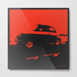 Fiat 500 classic, Red on Black Metal Print