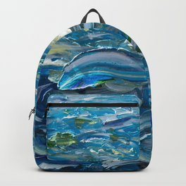 Original Oil Painting With Palette Knife On Canvas  Impressionist Roling Blue Sea Waves by OLena Art Backpack