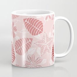 Red and White Floral Leaf Pattern shades of red Coffee Mug