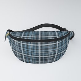 Plaid in blue and gray colors. Fanny Pack