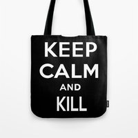 keep calm Tote Bags featuring Keep Calm by Lunaramour