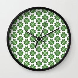 Hearts Clover Pattern Wall Clock
