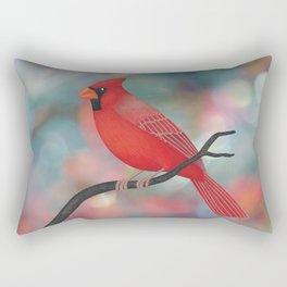male Northern cardinal bokeh background Rectangular Pillow