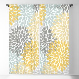 Floral Pattern, Yellow, Pale, Aqua, Blue and Gray Blackout Curtain