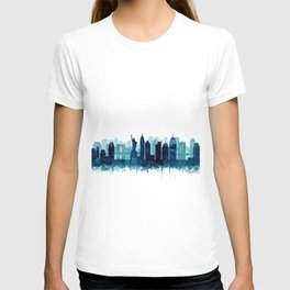 New York Cit Skyline Blue Watercolor by Zouzounio Art T-shirt