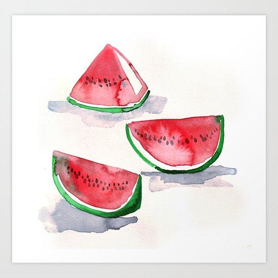 watermelon sketch Art Print