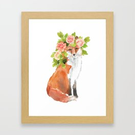 fox with flower crown Framed Art Print
