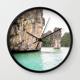 Halong Bay in Vietnam   Limestone rock formations   Travel photography   Fine Art   Photo Print    Wall Clock