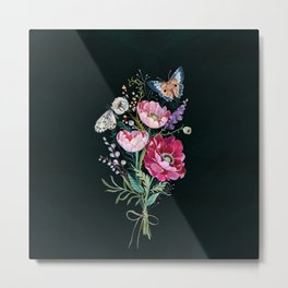 Butterfly Floral Bouquet Metal Print
