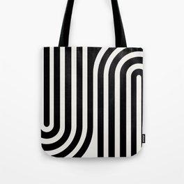 Minimal Line Curvature - Black and White III Tote Bag