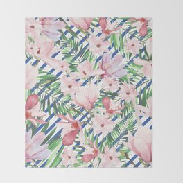 Modern blue white stripes blush pink green watercolor floral Throw Blanket