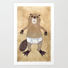 Animals in Underpants - Beaver Art Print