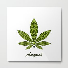 Birthstoned Leaf of Month, August Peridot Metal Print