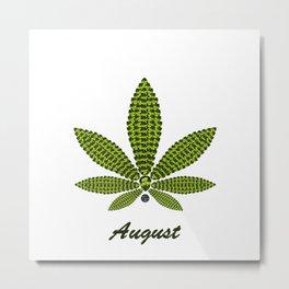 Birthstoned Leaf of Month, August Peridot Metal Print