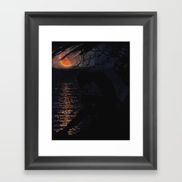 """The yellow half-moon enlarged, sagging down, drooping, the face of the sea almost touching"" Framed Art Print"