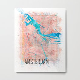 Amsterdam Netherlands Clean Iconic City Map Metal Print