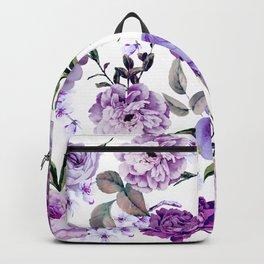 Elegant Girly Violet Lilac Purple Flowers Backpack