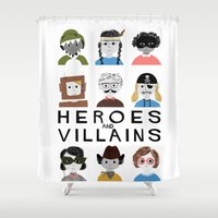 heroes Shower Curtains featuring Heroes & Villains by Francesca Iannaccone