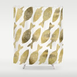 Indonesian Fish Duo – Gold Palette Shower Curtain